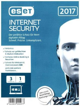ESET Internet Security 2017 Edition 3 User (FFP), 1 CD-ROM | Dodax.ch