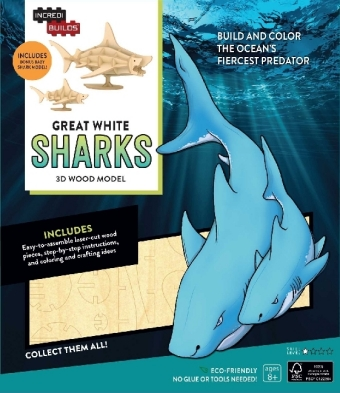 IncrediBuilds: Great White Sharks 3D Wood Model   Dodax.at