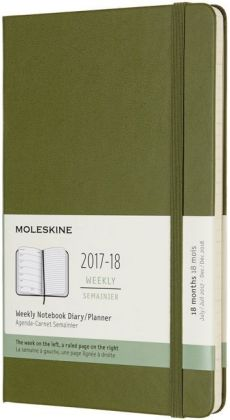 Moleskine 18 Monate Wochen Notizkalender 2017/2018, L/A5, Hard Cover, Ulmengrün | Dodax.at