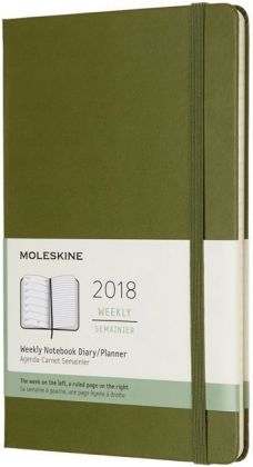 Moleskine 12 Monate Wochen Notizkalender 2018, L/A5, Hard Cover, Ulmengrün | Dodax.at