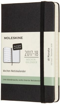 Moleskine 18 Monate Wochen Notizkalender 2017-18 Deutsch, P/A6, Hard Cover, Schwarz | Dodax.co.uk