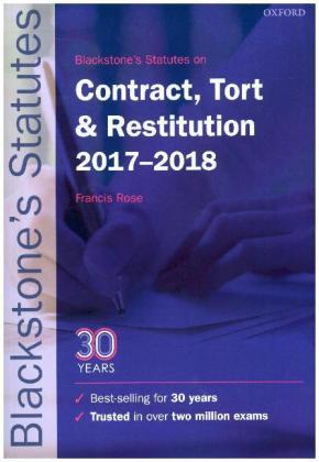 Blackstone's Statutes on Contract, Tort & Restitution 2017-2018 | Dodax.de