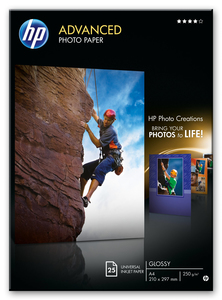 HP Advanced Glossy Photo Paper-25 sht/A4/210 x 297 mm | Dodax.co.uk