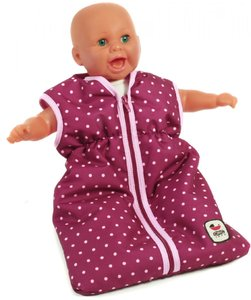 Image of Bayer Chic 2000 - Lilac/Pink Doll Sleeping Bag with Blackberry Dots (79229)