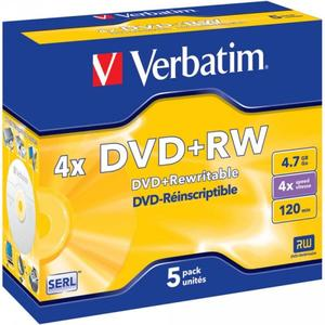 Verbatim DVD+RW 4x4.7GB 5er Pack | Dodax.at