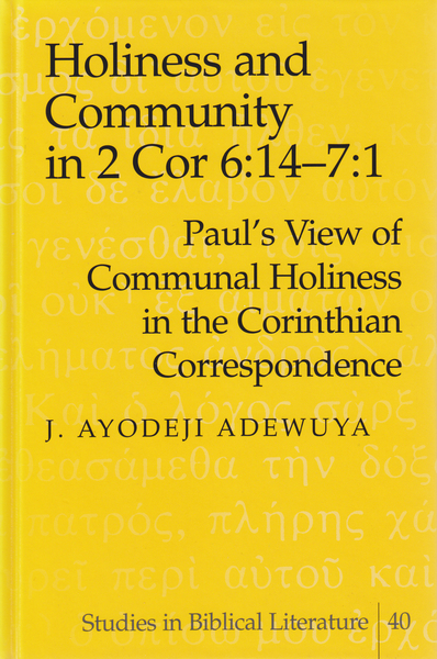 Holiness and Community in 2 Cor 6:14–7:1 | Dodax.de