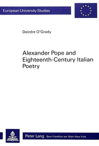 Alexander Pope and Eighteenth-Century Italian Poetry | Dodax.ch