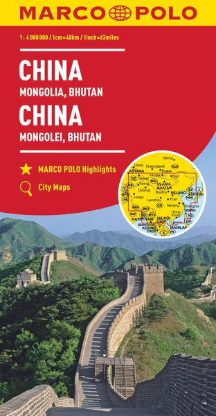 MARCO POLO Kontinentalkarte China, Mongolei, Bhutan 1:4 000 000 | Dodax.co.uk