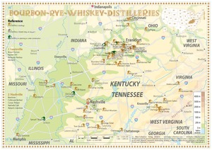 Whiskey Distilleries Kentucky and Tennessee - Tasting Map 34x24cm | Dodax.ch