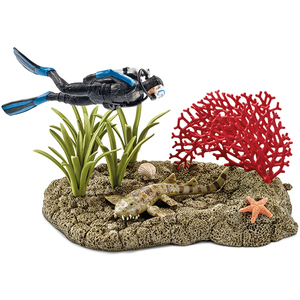 Schleich - Schleich Wild Life Coral Reef with Diver and Shark Figure Set (42328) | Dodax.es