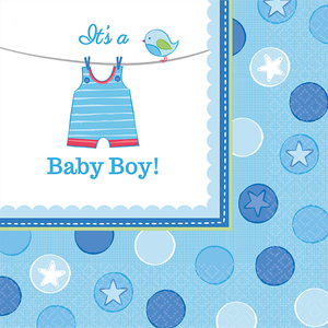16 Servietten 33x33cm Baby Shower Boy | Dodax.at