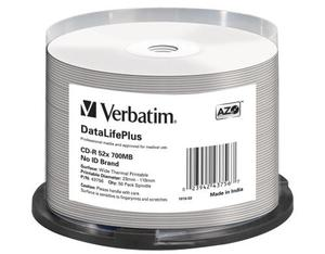 Image of 1x50 Verbatim CD-R 80/700MB 52x white wide thermal printable