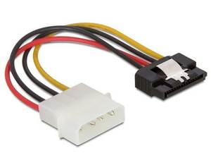 DeLOCK SATA HDD > 4pin male with metal clip – straight 0.12m Multicolour power cable | Dodax.co.uk