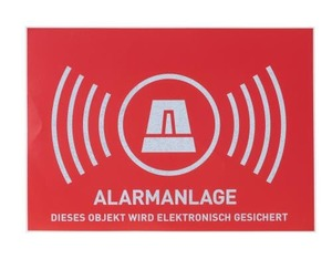 "Warn Aufkleber ""Alarmanlage"", deutsch 