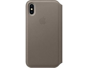 Apple iPhone X Leder Folio Taupe | Dodax.ch